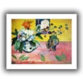 ArtWall in.Flowers and a Japanese Printin. Unwrapped Canvas Arts By Paul Gauguin