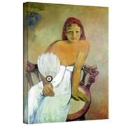 "ArtWall ""Girl with Fan"" Gallery Wrapped Canvas Art By Paul Gauguin, 18"" x 14"""
