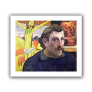 ArtWall Self Portrait with Yellow Christ Unwrapped Canvas Art By Paul Gauguin, 26 x 32