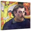 ArtWall in.Self Portrait with Yellow Christin. Gallery Wrapped Canvas Arts By Paul Gauguin