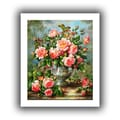 ArtWall in.English Elegance Roses in a Silver Vasein. Unwrapped Canvas Arts By Albert Williams