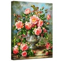 ArtWall in.English Elegance Roses in a Silver Vasein. Wrapped Canvas Arts By Albert Williams
