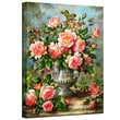 ArtWall in.English Elegance Roses in a Silver Vasein. Wrapped Canvas Art By Albert Williams, 14in. x 18in.