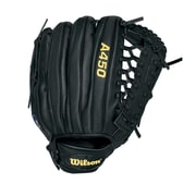 Wilson® A450 Right Hand Thrower Black Baseball Gaming Glove, 12