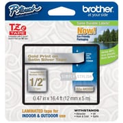 "Brother® 1/2"" Satin Label Tape, Satin Silver/Gold"