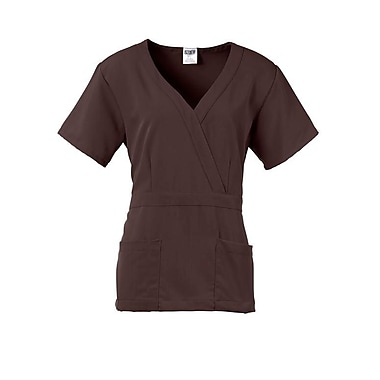 Park AVE.™ Mock Wrap Ladies Scrub Top, Chocolate, Large
