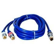 QVS® 10' Premium S-Video Male/Dual-RCA Male Y/C Break-Out Cable, Blue