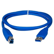 QVS® 6' USB 3.0 Type A Male To B Male Cable, Blue
