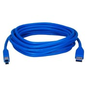 QVS® 15' USB 3.0 Type A Male To B Male Cable, Blue