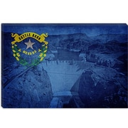 iCanvas Flags Nevada Hoover Dam Graphic Art on Canvas; 18'' H x 26'' W x 1.5'' D