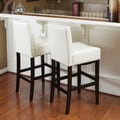 Home Loft Concept Georgia Leather Bar Stool (Set of 2) (Set of 2); ivory