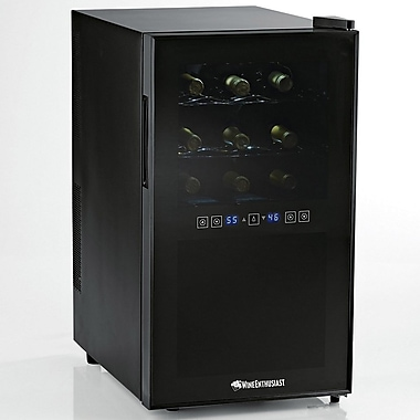 Wine Enthusiast Companies Silent 18 Bottle Dual Zone Thermoelectric Wine Refrigerator
