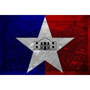 iCanvas San Antonio Flag, Grunge Vintage Map Graphic Art on Canvas; 40'' H x 60'' W x 1.5'' D