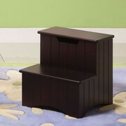 InRoom Designs 2-Step Manufactured Wood Storage Step Stool with 200 lb. Load Capacity; Merlot