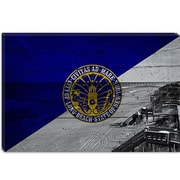 iCanvas Long Beach Flag, Beach w/ Planks Graphic Art on Canvas; 12'' H x 18'' W x 1.5'' D