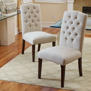 Home Loft Concept Carrigan Crown Top Dining Chair (Set of 2); Fabric - Ivory