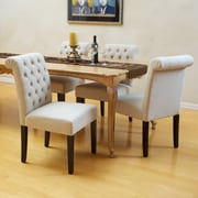 Home Loft Concept Cullon Tufted Leather Dining Chair; Fabric - Ivory