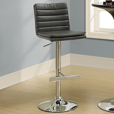 Monarch Specialties Inc. 25.5'' Adjustable Bar Stool  (Set of 2); Charcoal Grey