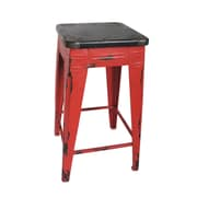 Moe's Home Collection Sturdy 26'' Bar Stool; Red