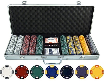 JP Commerce 500 Piece Ace King Tricolor Clay Poker Chip Set WYF078275851222
