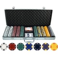 JP Commerce 500 Piece Ace King Tricolor Clay Poker Chip Set