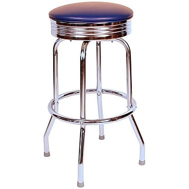 Richardson Seating Retro Home 30'' Swivel Bar Stool with Cushion; Blue