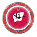 Wave 7 NCAA 14'' Team Neon Wall Clock; Wisconsin
