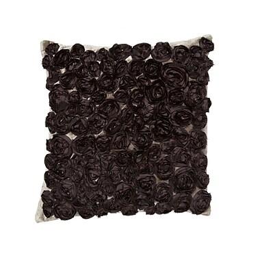 Cloud9 Design Silk Roses Throw Pillow; Chocolate