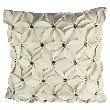 Design Accents Poinsettias Jewels Felt Throw Pillow; Ivory