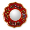 Novica The Gelacio Giron Reverse Painted Glass Mirror; Ruby