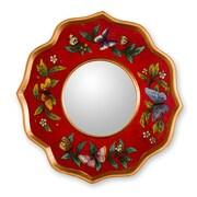 Novica The Gelacio Giron Reverse Painted Glass Mirror; Ruby
