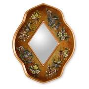 Novica The Gelacio Giron Reverse Painted Glass Mirror; Golden