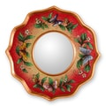 Novica The Gelacio Giron Reverse Painted Glass Mirror; Strawberry