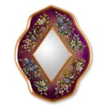 Novica The Gelacio Giron Reverse Painted Glass Mirror; Purple