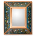 Novica The Gelacio Giron Reverse Painted Glass Mirror; Blue
