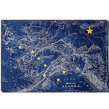 iCanvas Alaska Flag, Vintage Map Grunge Graphic Art on Canvas; 12'' H x 18'' W x 0.75'' D