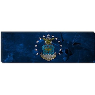 iCanvas Air-Force Flag, Raptor Panoramic Graphic Art on Canvas; 16'' H x 48'' W x 0.75'' D