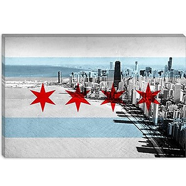 iCanvas Chicago Flag, Chicago Skyline Graphic Art on Canvas; 26'' H x 40'' W x 1.5'' D
