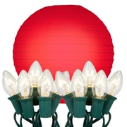 Luminarias 10 Light String Light with Round Paper Lantern; Red