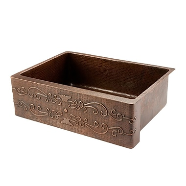 Premier Copper Products Scroll Single Farmhouse Kitchen Sink