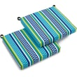 Blazing Needles All-Weather UV-Resistant Square Patio Chair Cushion; Pike Azure