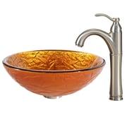 Kraus Blaze Glass Vessel Sink w/ Riviera Faucet; Satin Nickel