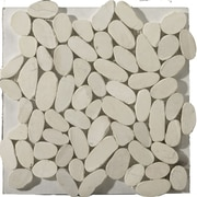 Emser Tile Natural Stone Random Sized Marble Pebble Tile in Ivory