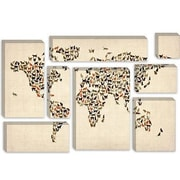 iCanvas 'Cats World Map II' by Michael Tompsett Graphic Art on Canvas; 18'' H x 26'' W x 1.5'' D