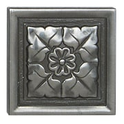 Daltile Metal Ages 2'' x 2'' Romanesque Glazed Decorative Tile Insert in Polished Pewter