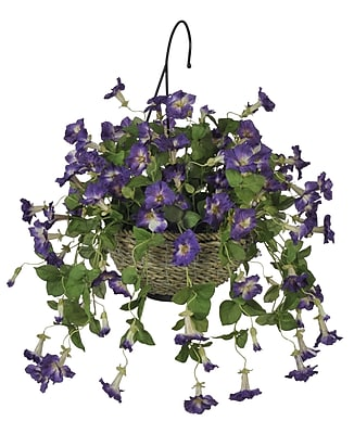 House of Silk Flowers Artificial Petunia Hanging Plant in Basket; Purple WYF078276018229
