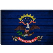 iCanvas North Dakota Flag, Grunge Boards Graphic Art on Canvas; 12'' H x 18'' W x 0.75'' D