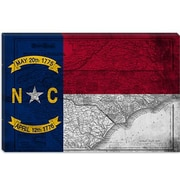 iCanvas North Carolina Flag, Grunge Vintage Map Graphic Art on Canvas; 8'' H x 12'' W x 0.75'' D