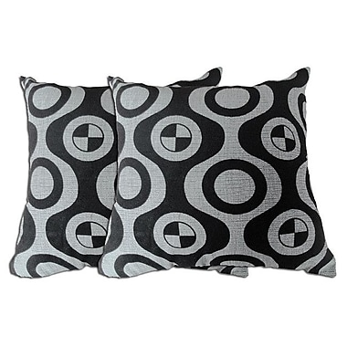 Acura Rugs Decorative Throw Pillow (Set of 2); Black / Grey
