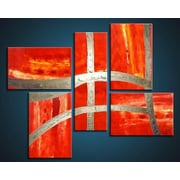 Acura Rugs Victory 5 Piece Framed Original Painting on Wrapped Canvas Set by